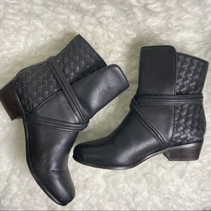 Joie Jackson Black Basket Weave Leather Ankle Boot